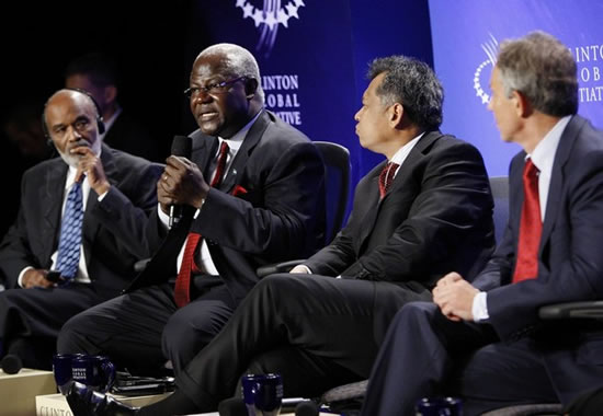 Rene Preval, Tony Blair , Ernest Bai Koroma, and Surin Pitsuwan at the Clinton Global Initiative
