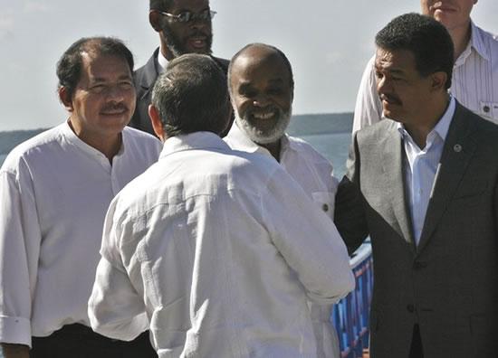 Presidents Rene Preval, Raul Castro, Daniel Ortega, and Leonel Fernandez
