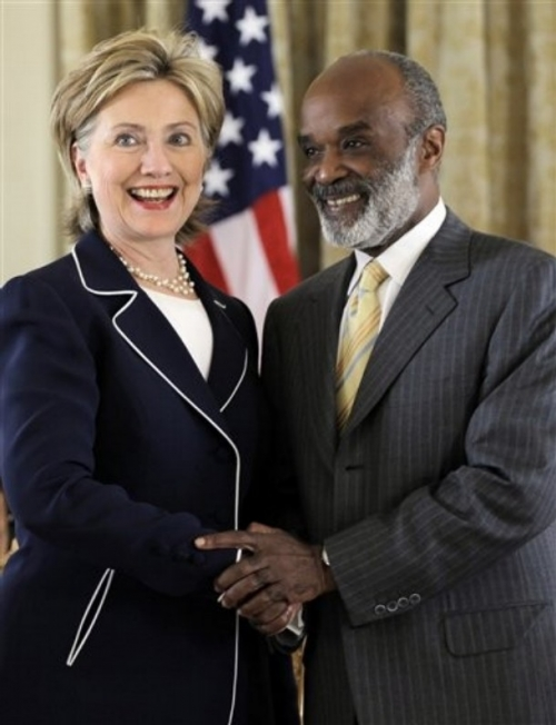 Hillary Clinton and Rene Preval