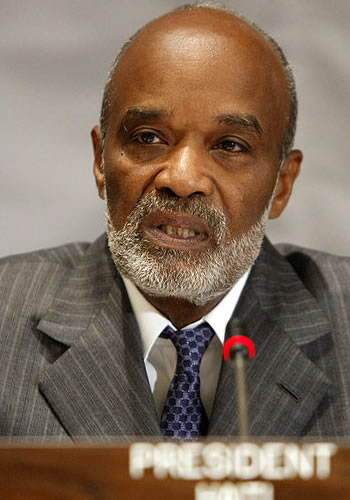 Haiti President Rene Preval - International Donors Conference